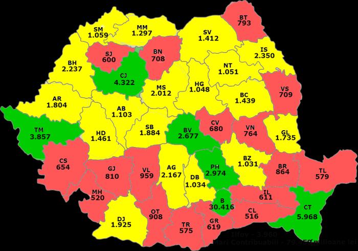 Veniturile bugetului Romaniei pe fiecare judet in 2013