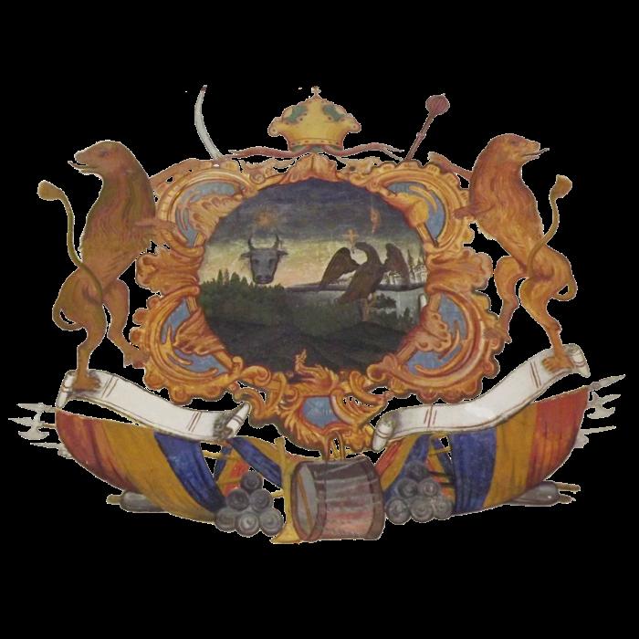 Principatele Române (Cuza) - Stemă aflată la intrarea în mănăstirea din Cozia (mare)