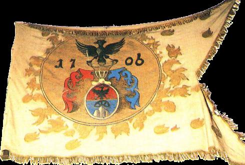 Steag al cavalerilor kuruți conduși de II. Rákóczi Ferenc/ Francisc al II-lea de Rákóc, Principe al Transilvaniei (revers), 1706, variantă