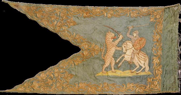Steag al haiducilor din Szoboszló conduși de Ștefan de Bokcsa, Principe al Transilvaniei (revers), sec. XVII