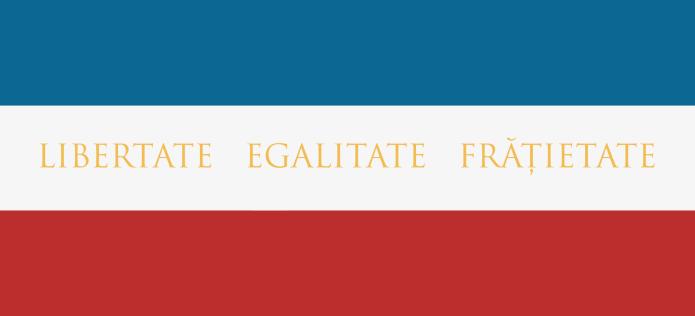 Steag al Marii Adunări Naționale de la Blaj folosit de Ioan Pușcariu (avers), 1848
